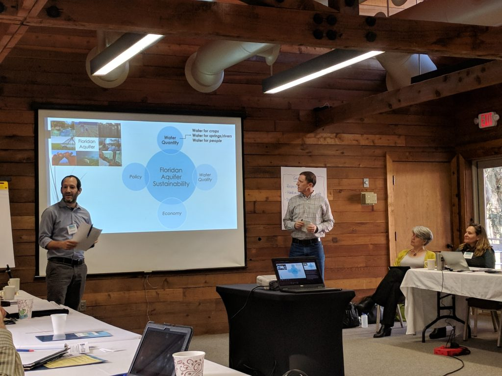 Two Project Team members presenting at Camp Weed